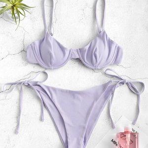 Periwinkle Ribbed Underwire Bikini